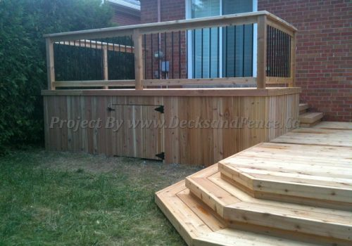 2 level deck and patio with skirt