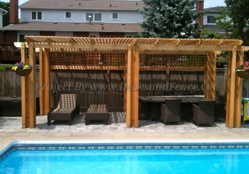 Pool deck with cedar pergola