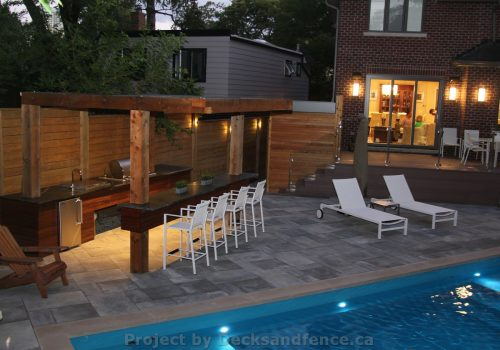PVC deck with pool deck and cabana