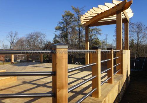 Cedar Deck, pergola and stainless steel railings