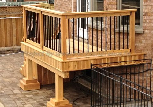 Small deck with railings