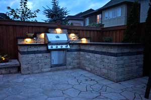 Landscaping design with outdoor kitchen