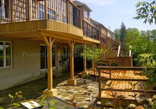 Cedar deck with pergola and railings